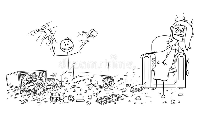 Cartoon of Naughty Little Boy Doing Mess, Exhausted Mother is Sitting in Armchair vector illustration