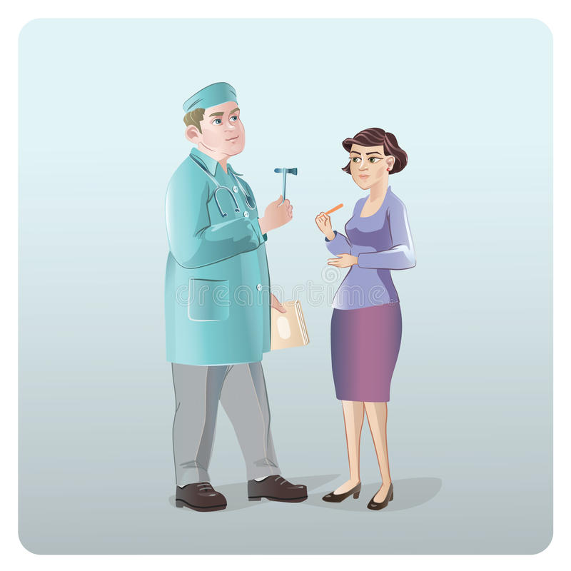 Cartoon Neurologist Examination Concept. With doctor holding hammer and checking female patient reflexes vector illustration stock illustration