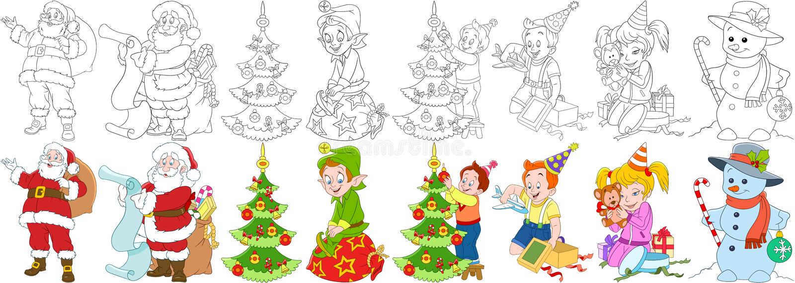 Cartoon new year set stock photo