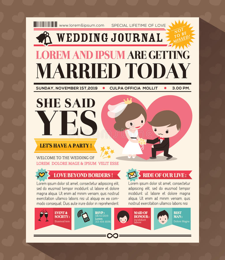 Cartoon Newspaper Wedding Invitation card Design stock illustration