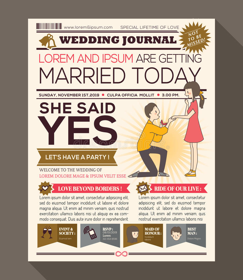 Cartoon Newspaper Wedding Invitation card Design royalty free illustration