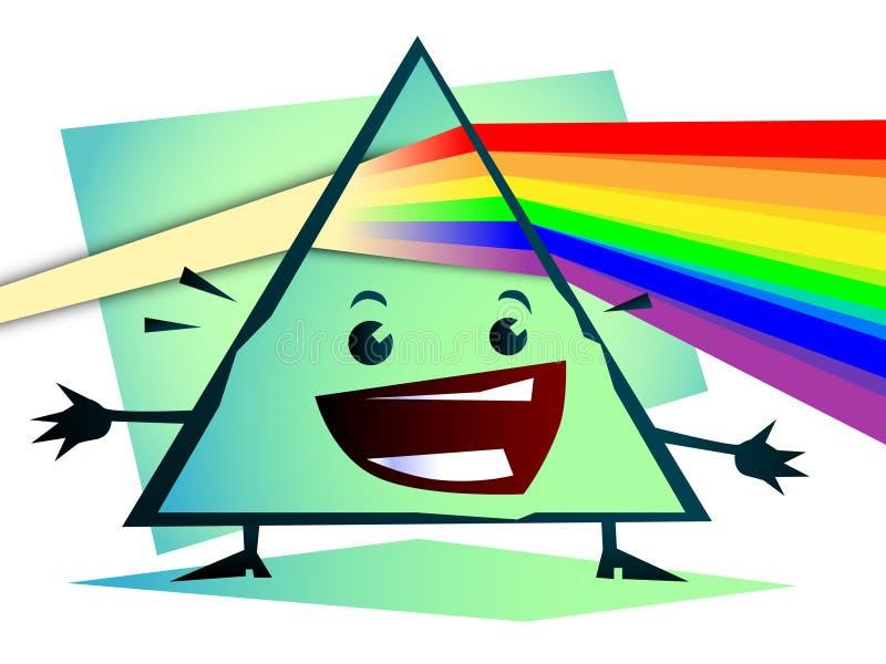 Cartoon Newton prism with rainbow vector illustration