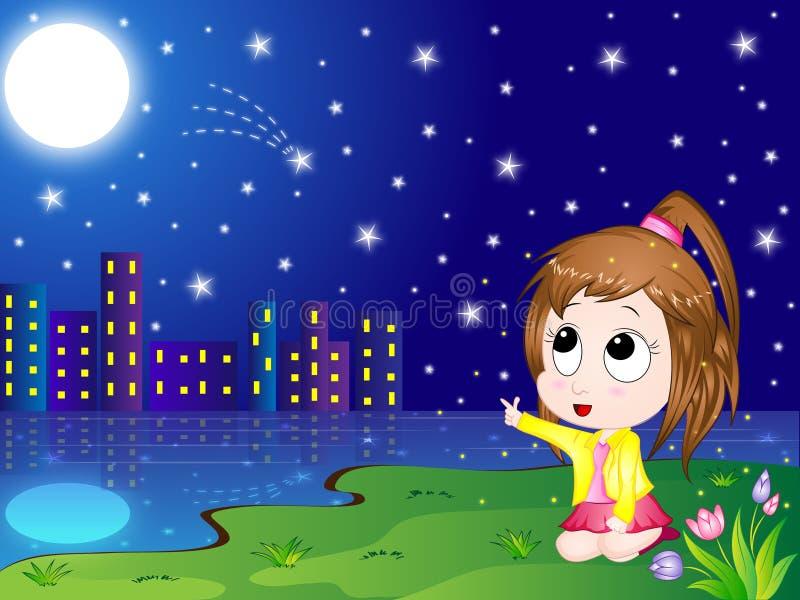 Cartoon Night Scenery. Cute Vector Illustration of a Cartoon Girl looking at the night sky full of Stars