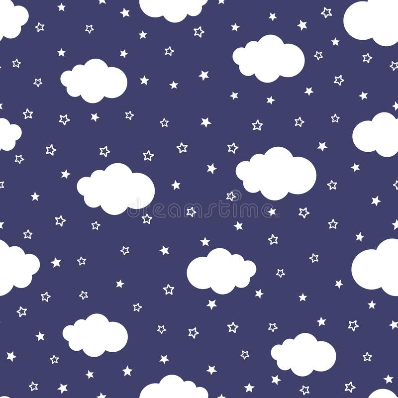 Cartoon of night sky with stars and clouds. Cute seamless pattern. stock illustration