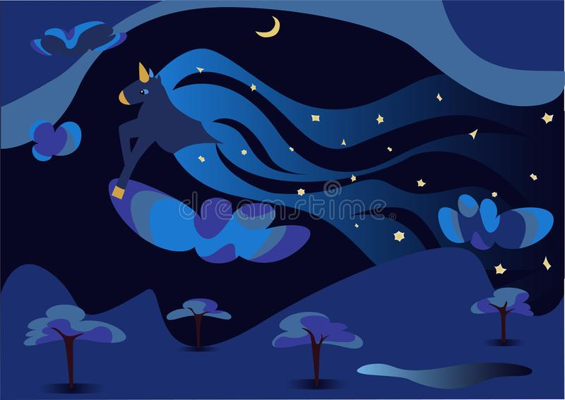 Night cartoon landscape over the forest. A unicorn flies in the sky and scatters stars. Cartoon night sky over the forest. The unicorn gallops over the clouds royalty free illustration