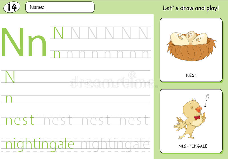 Cartoon nightingale and nest. Alphabet tracing worksheet. Writing A-Z, coloring book and educational game for kids royalty free illustration