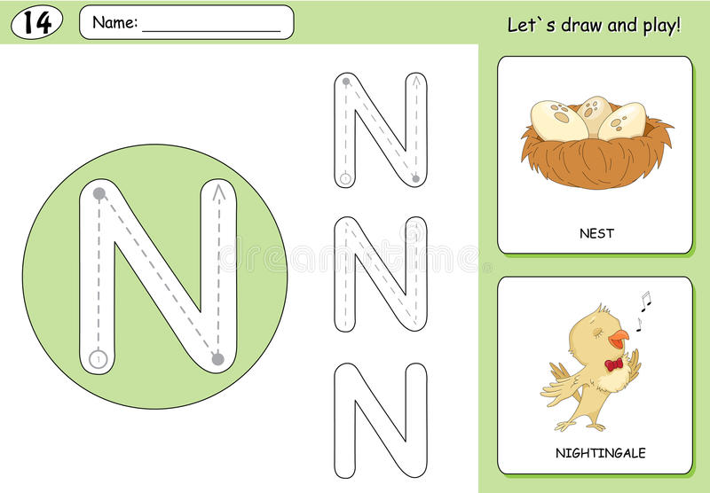 Cartoon nightingale and nest. Alphabet tracing worksheet. Writing A-Z, coloring book and educational game for kids stock illustration