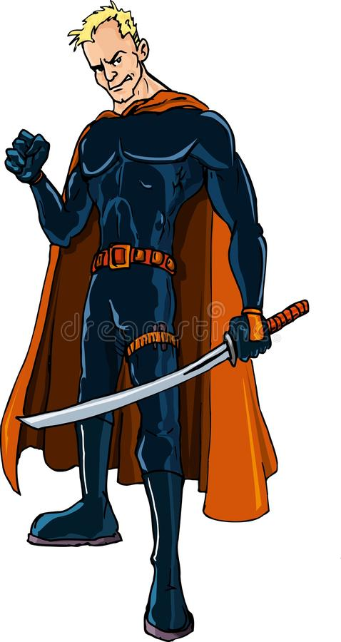 Download Cartoon Ninja Superhero With A Sword Stock Vector - Illustration: 21448241