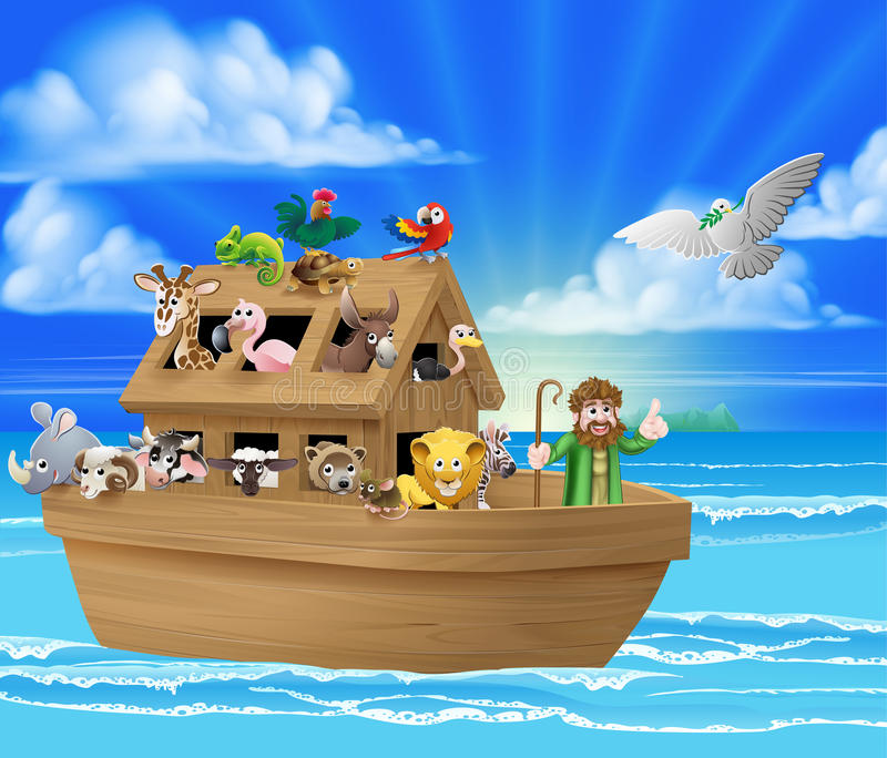 Cartoon Noahs Ark. Cartoon childrens illustration of the Christian Bible story of Noah and his Ark with the white dove returning with the olive branch from royalty free illustration