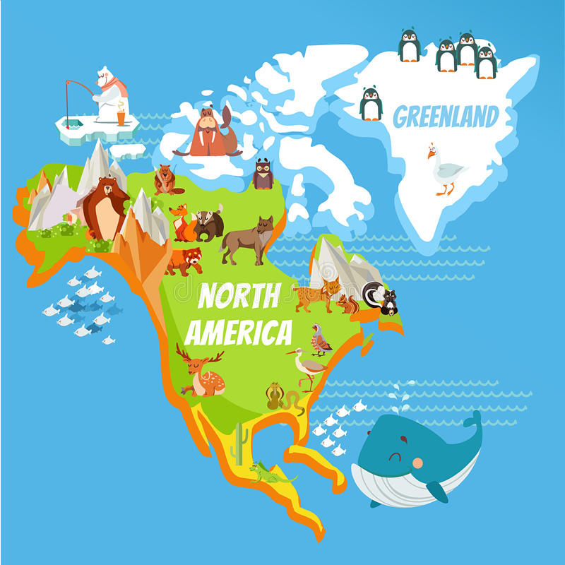 cartoon map of north america continent and greenland with cute cartoon animals