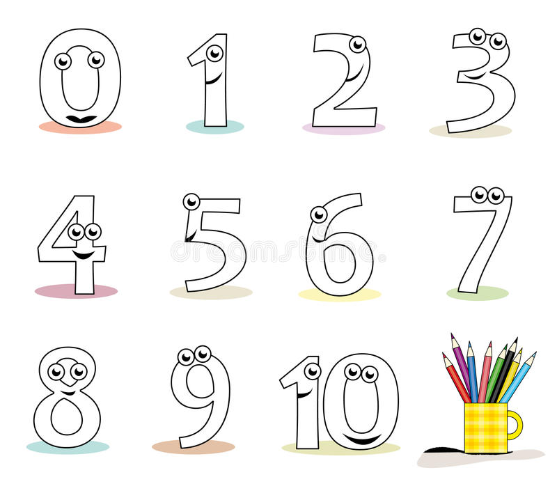 Cartoon numbers. Funny cartoon numbers in black and white. Useful for colouring book pages for kids. Vector file (. ai) available royalty free illustration