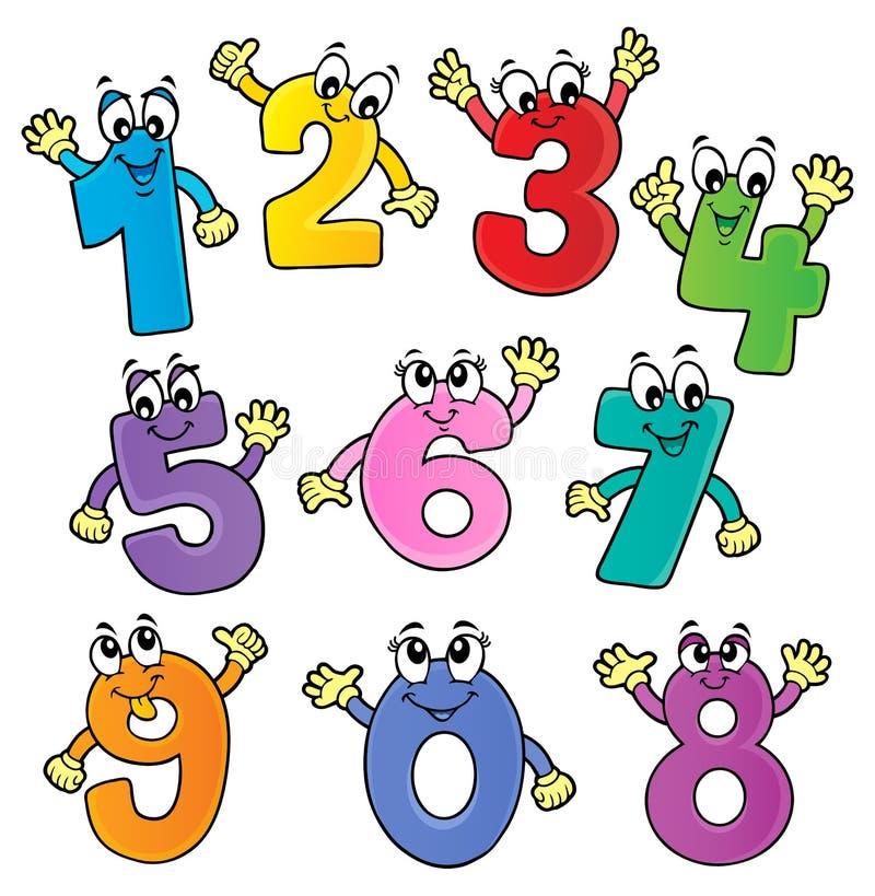 Cartoon numbers theme set 2 stock illustration