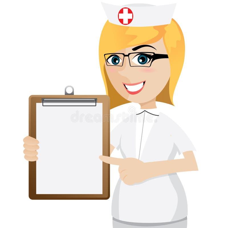 Cartoon nurse with blank document stock vector