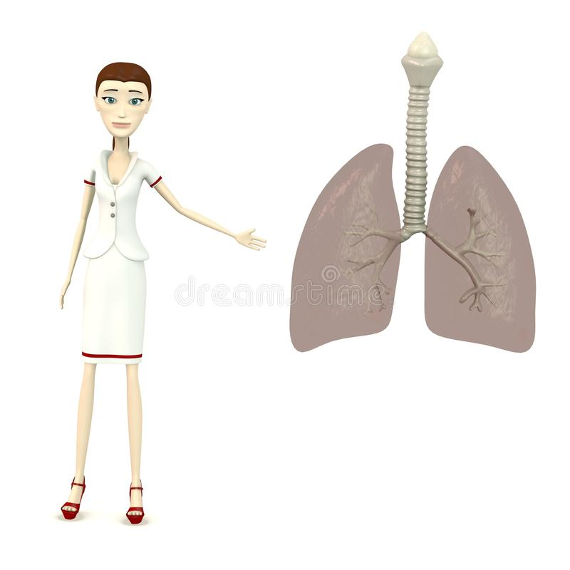 Cartoon nurse with lungs stock illustration