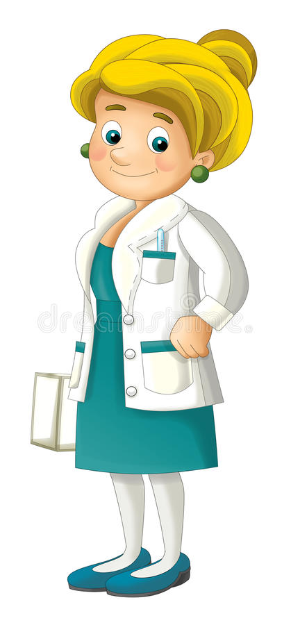 Cartoon nurse or scientist isolated. Beautiful and colorful illustration for the children - for different usage - for fairy tales stock illustration