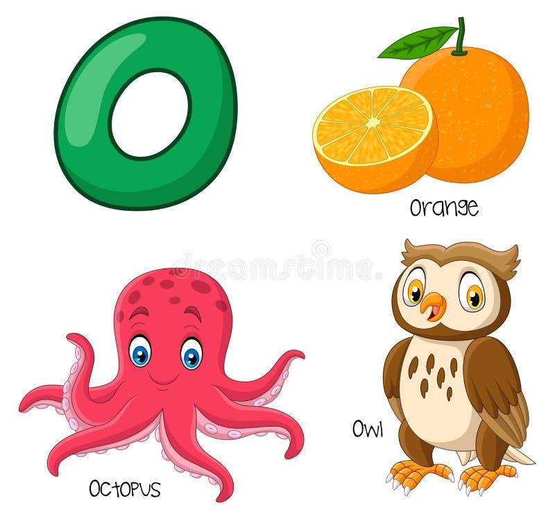 Cartoon O alphabet. Illustration of Cartoon O alphabet stock illustration