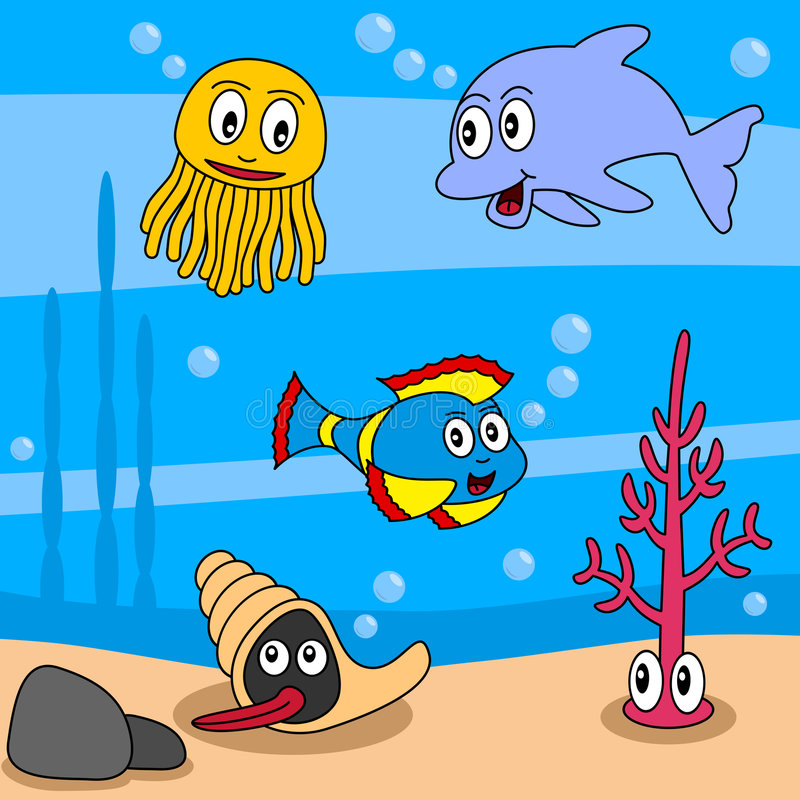 Cartoon Ocean Life [1]. Cartoon ocean life (first of four perfectly attachable illustrations): a dolphin, a jellyfish, a mollusc or shellfish, a seaweed or alga vector illustration