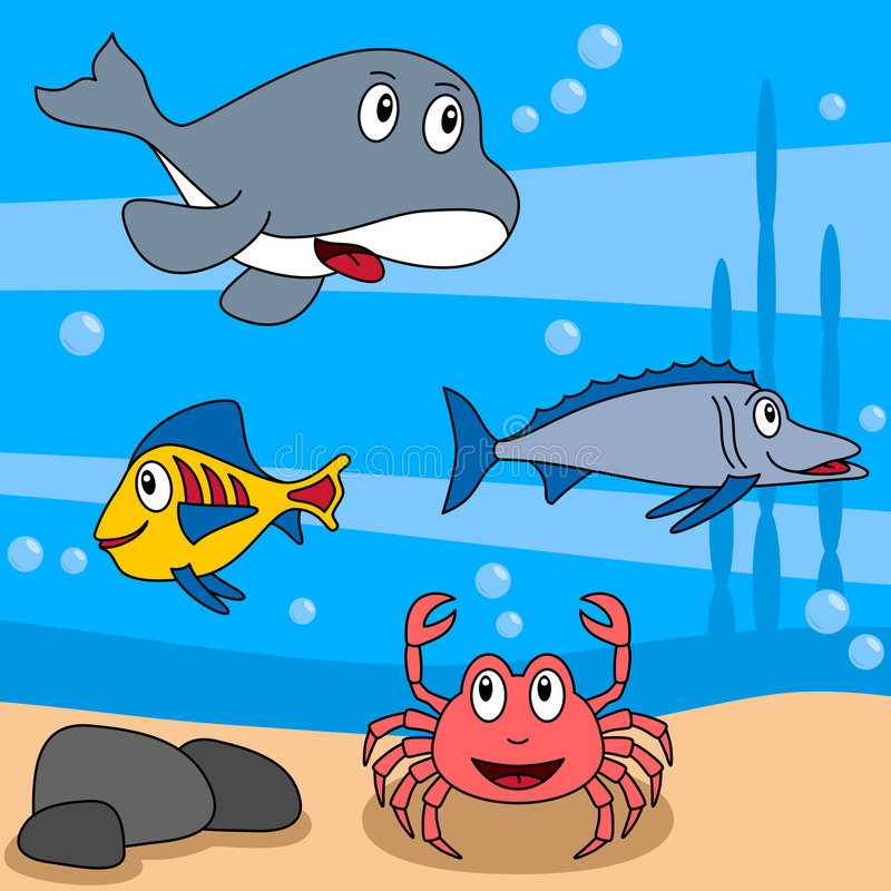 Cartoon Ocean Life [3]. Cartoon ocean life (third of four perfectly attachable illustrations): an orca, a crab and two fishes in a funny underwater scene. Eps stock illustration