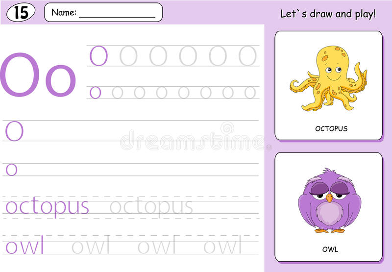 Cartoon octopus and owl. Alphabet tracing worksheet. Writing A-Z, coloring book and educational game for kids vector illustration