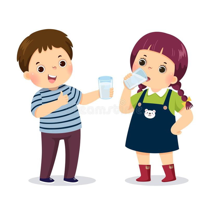 Free Cartoon Of A Little Boy Holding Glass Of Water And Showing Thumb Up Sign With Girl Drinking Water Royalty Free Stock Photo - 202346415