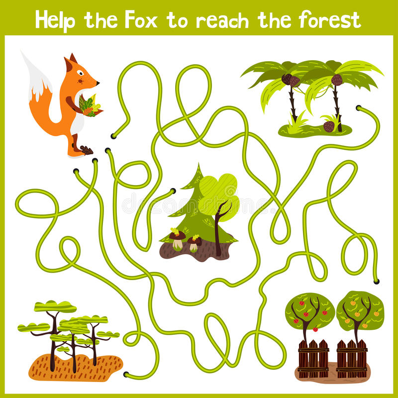 Free Cartoon Of Education Will Continue The Logical Way Home Of Colourful Animals.Help Me Get Crafty Red Fox Wild Home In The Forest. M Stock Images - 64925694