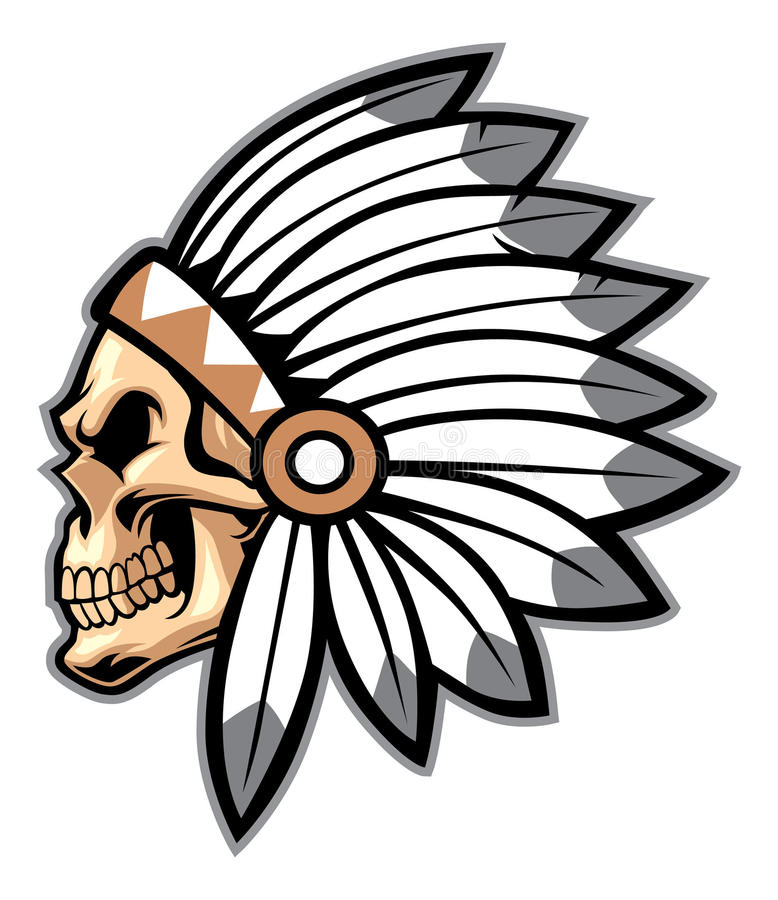 Free Cartoon Of Indian Chief Skull Stock Photography - 36104592