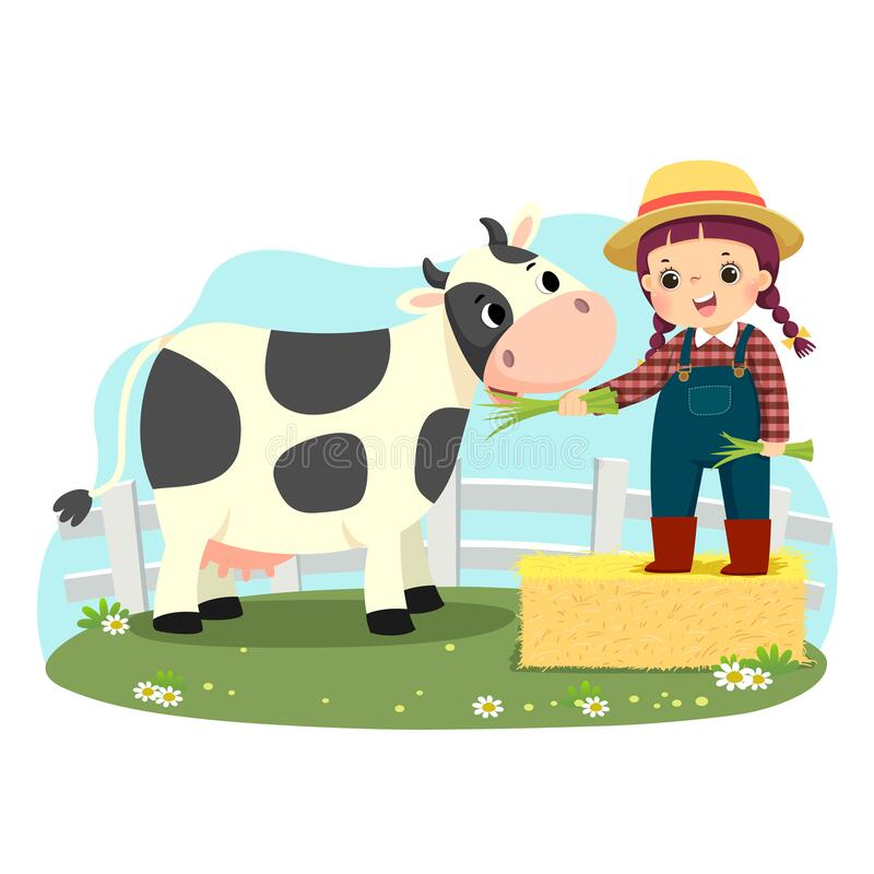 Free Cartoon Of Little Girl On Bale Of Hay Feeding Her Cow With Green Grass Royalty Free Stock Image - 209450336