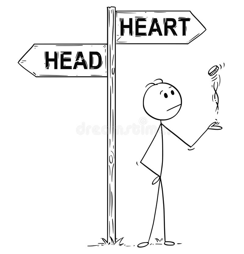 Free Cartoon Of Man Or Businessman Making Decision By Flipping A Coin Under Head Or Heart Arrows Stock Image - 112392571