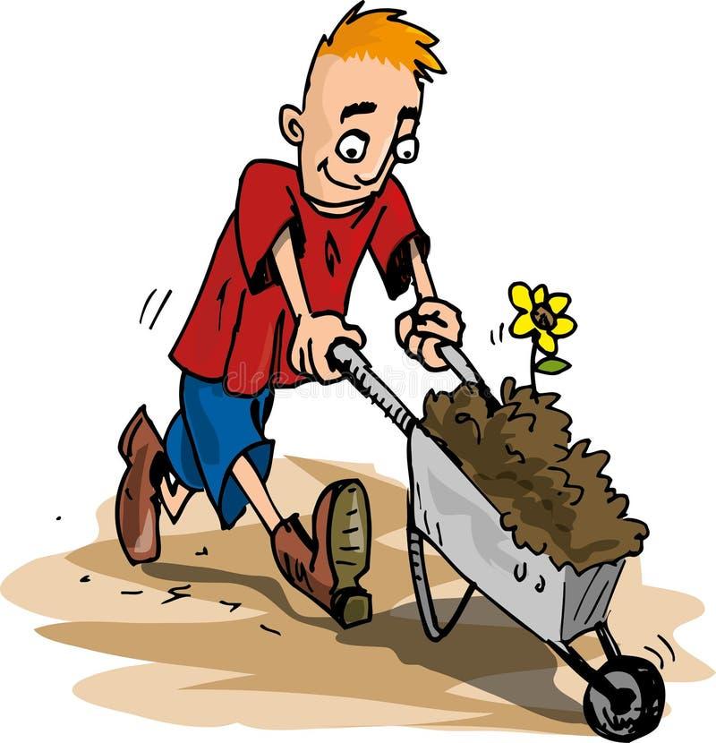 Free Cartoon Of Man Pushing A Wheelbarrow Stock Photos - 19284243