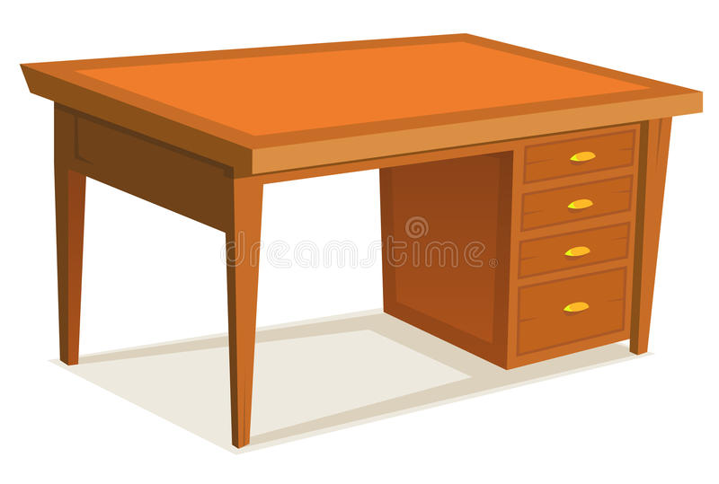 Cartoon Office Desk. Illustration of a cartoon wooden office desk furniture with drawer, isolated on white background vector illustration