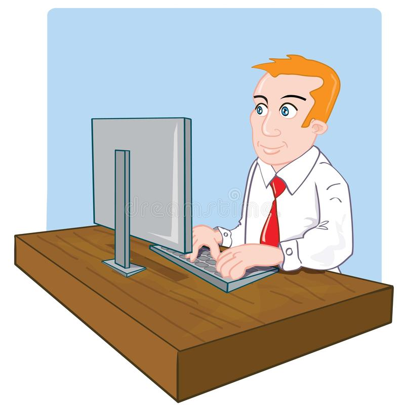 Cartoon Office Worker At His Desk Royalty Free Stock Image