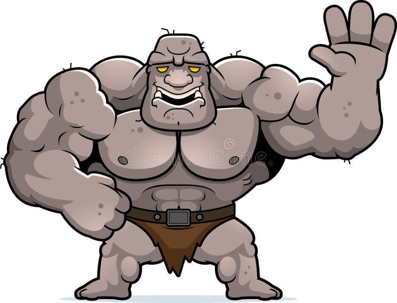 Cartoon Ogre Waving royalty free illustration