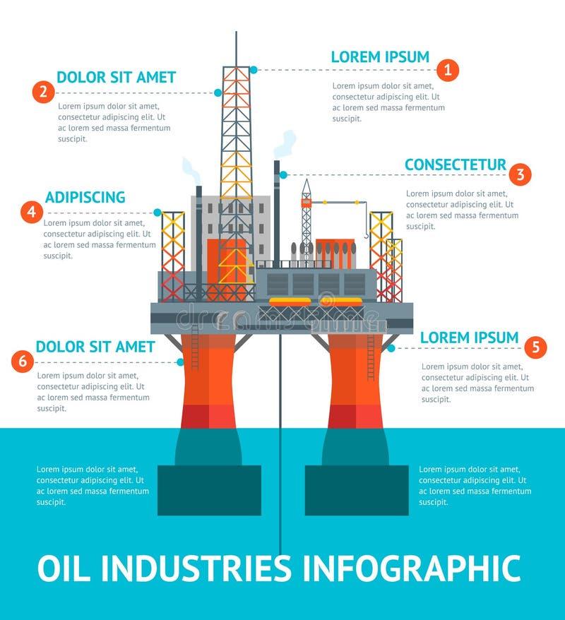 Cartoon Oil Industry Infographic Menu. Vector stock illustration