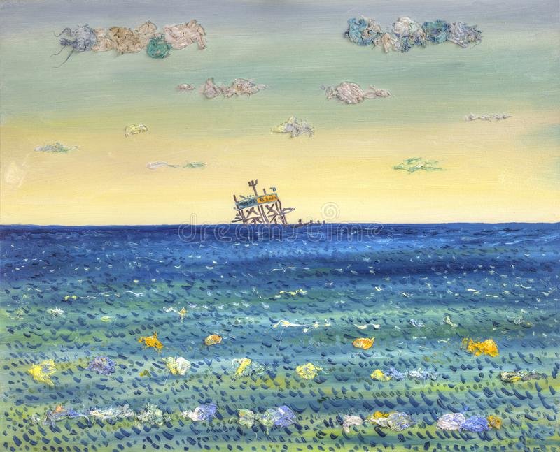 Download Cartoon Oil Rig In The Sea Painting Stock Illustration