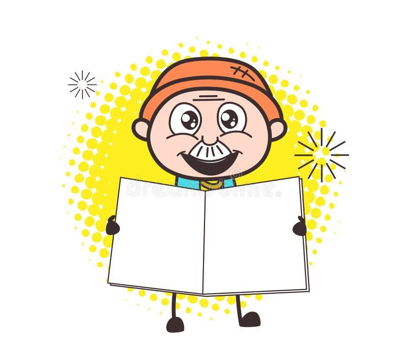 Cartoon Old Businessman with Blank Book. Vector stock illustration