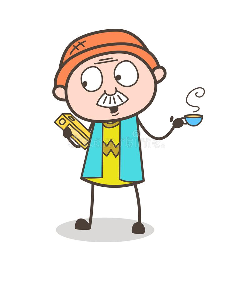 Cartoon Old Businessman with Book and Hot Tea Vector Illustration. Design stock illustration