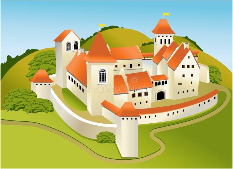 Cartoon old castle stock illustration