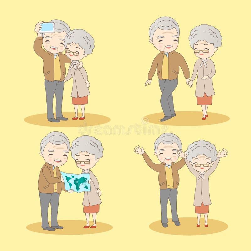 Cartoon old couple lifestyle stock illustration