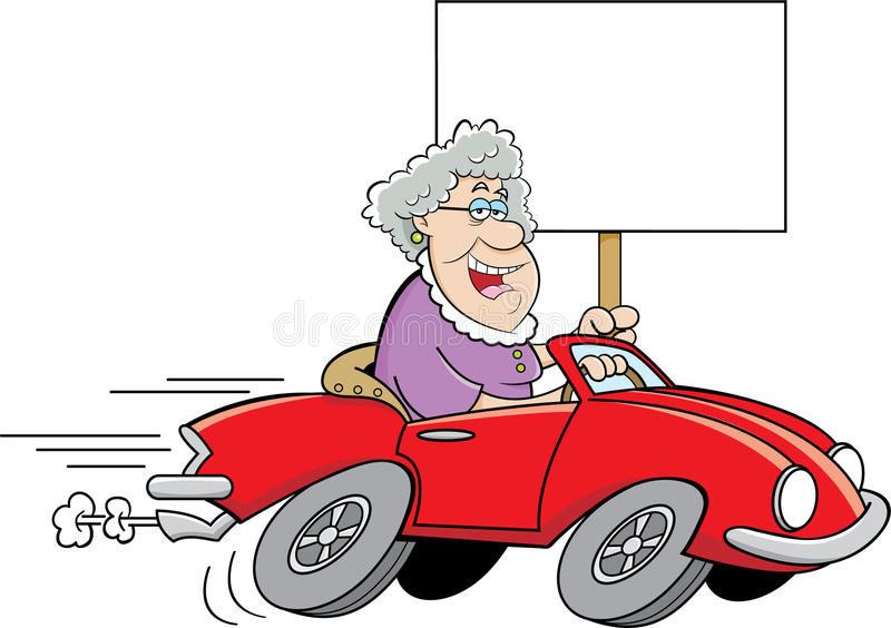 Cartoon old lady driving a sports car and holding a sign. vector illustration