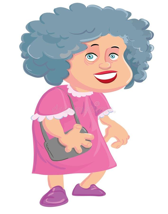 Cartoon Old Lady With A Handbag Stock Photo