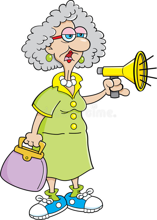 Cartoon Old Lady with a Megaphone royalty free illustration