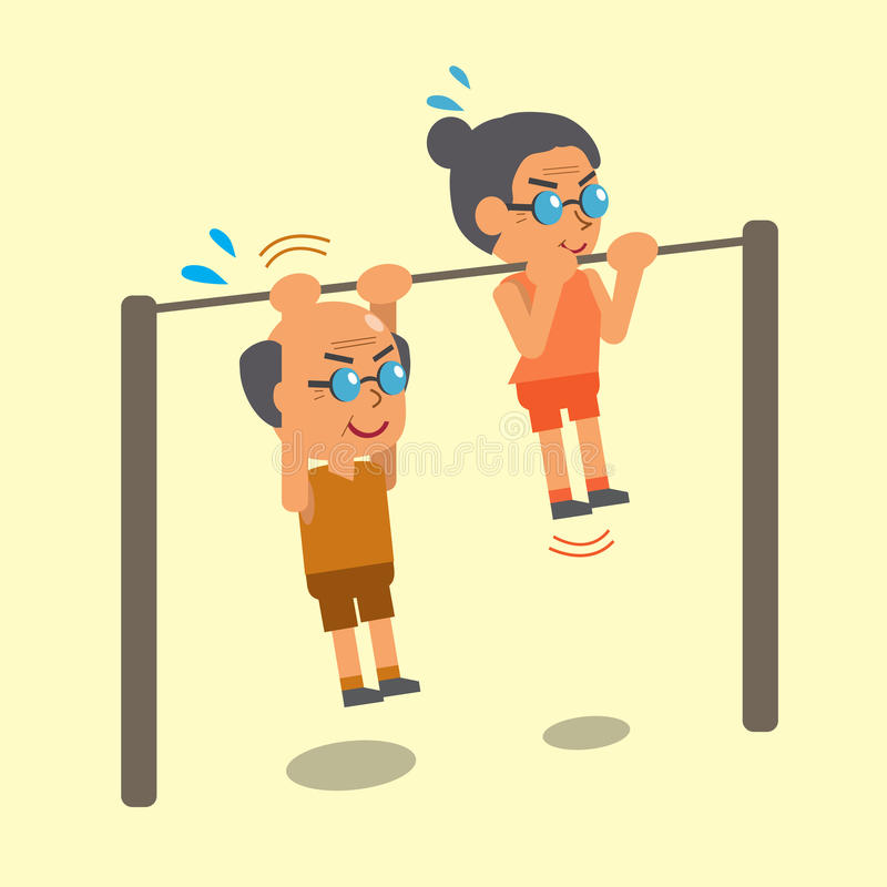Cartoon old man and old woman doing chin ups exercise together. For design royalty free illustration