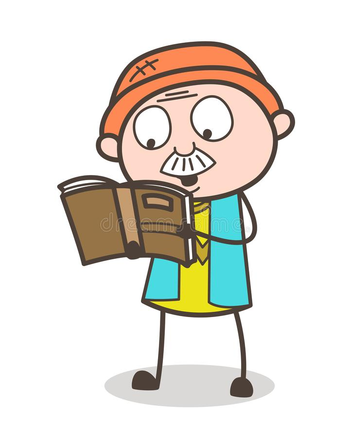Cartoon Old Man Reading Book Vector Illustration stock illustration