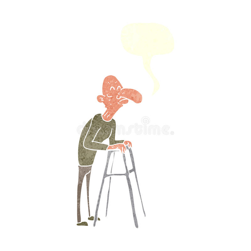 Cartoon Old Man With Walking Frame With Speech Bubble Stock ...