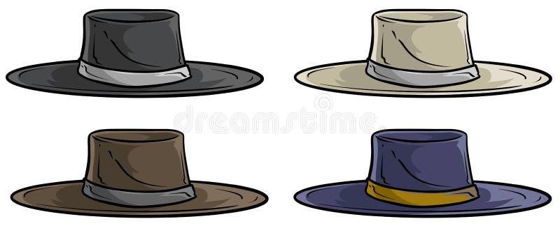 Cartoon old mexican retro hat vector icon set vector illustration