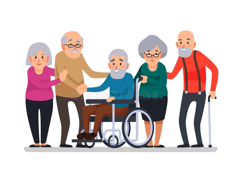 Cartoon old people. Happy aged citizens, disabled senior on wheelchair and elderly citizen with a cane cartoon vector. Cartoon old people. Happy aged citizens stock illustration