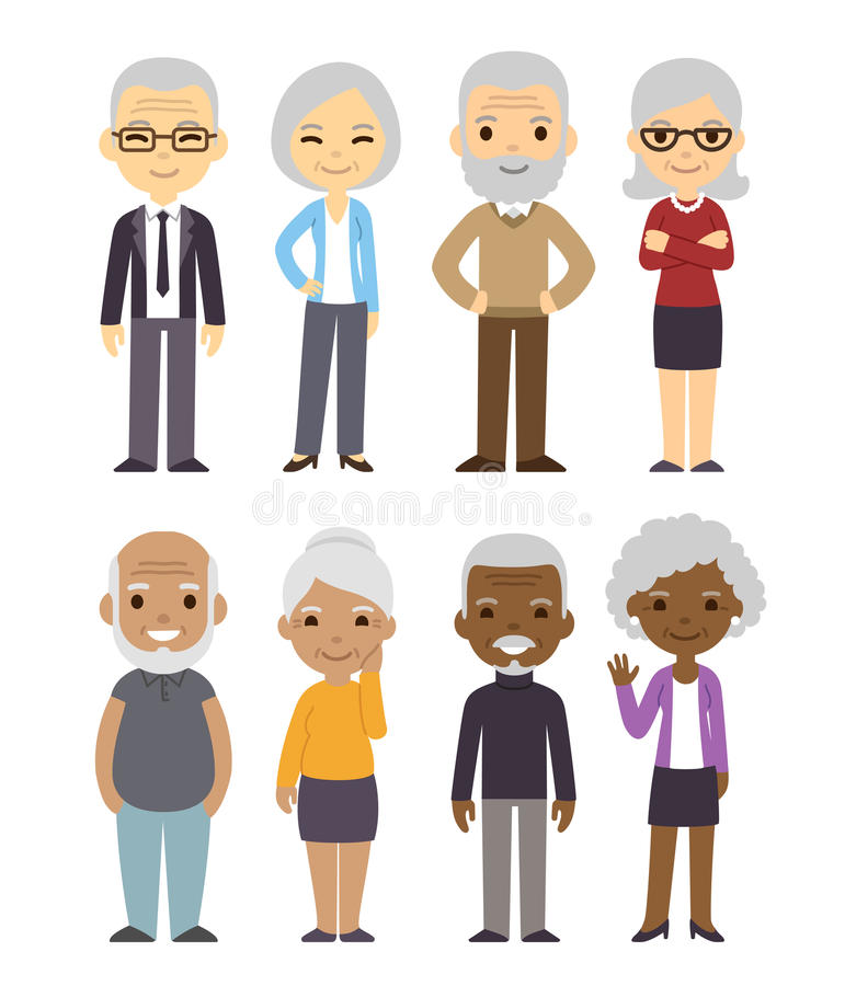 Cartoon old people set stock illustration