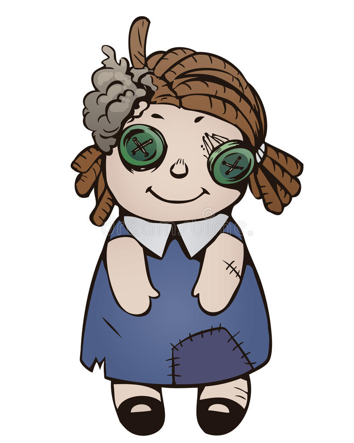 Cartoon old ragged doll. Cartoon illustration of old ragged doll in dark-blue dress with patch on white stock illustration