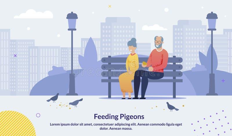 Cartoon Old Senior Couple Feeding Pigeons Poster. Cartoon Old Senior Couple Character Sitting on Bench in City Urban Park Feeding Pigeons Birds with Breadcrumbs stock illustration