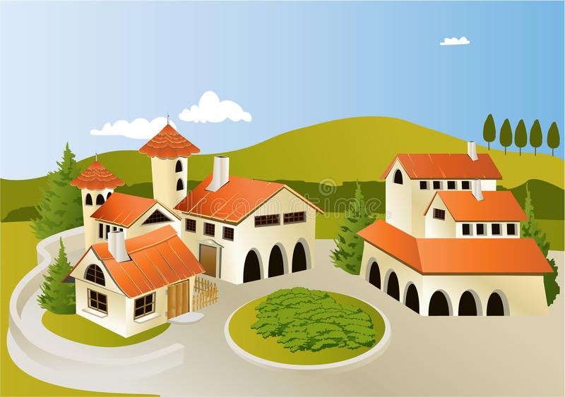 Cartoon old town. Vector illustration of cartoon old town landscape stock illustration
